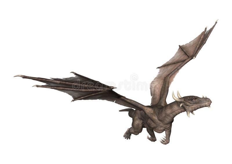 dragão da fantasia da rendição 3D no branco ilustração royalty free