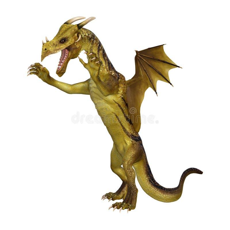 dragão da fantasia da ilustração 3D no branco ilustração do vetor