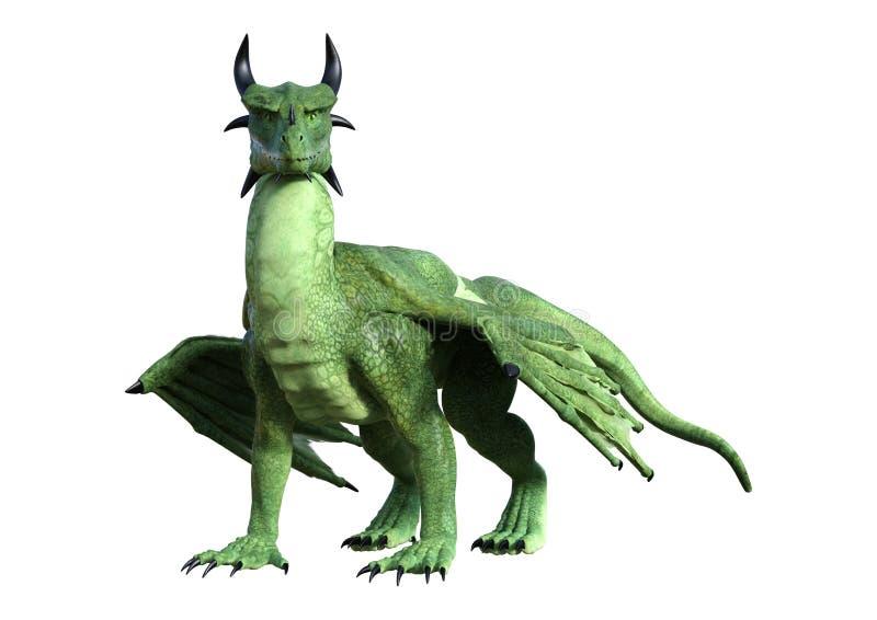 dragão da fantasia da rendição 3D no branco ilustração stock