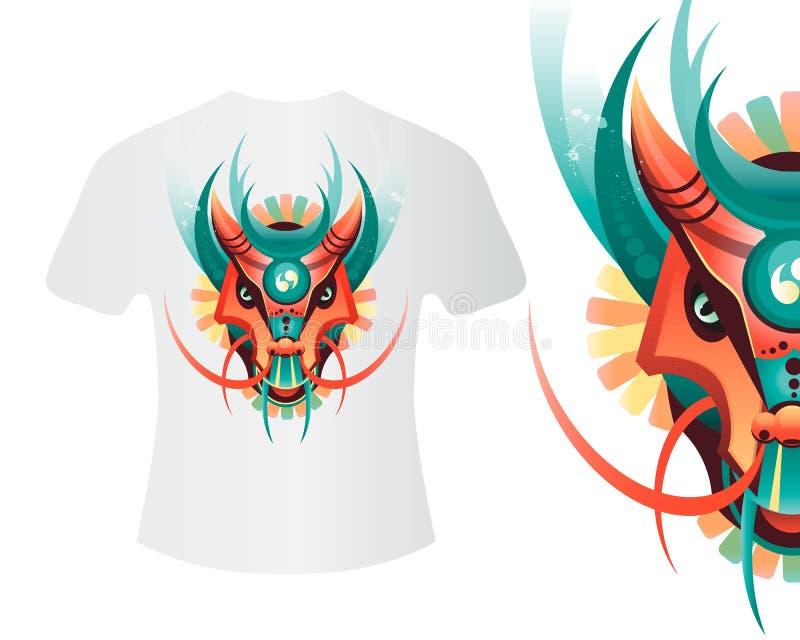 Dragão da mascote para imprimir em camisas e em outros artigos ilustração royalty free