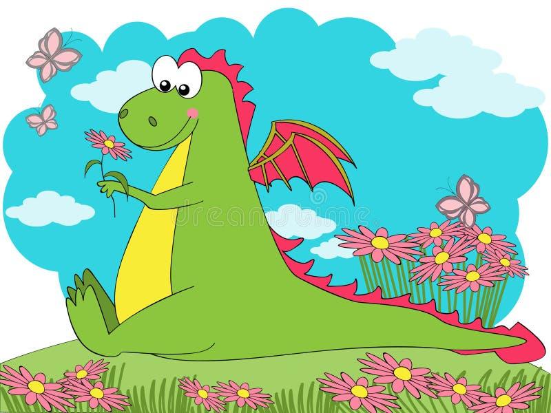 Dragão da mola ilustração stock