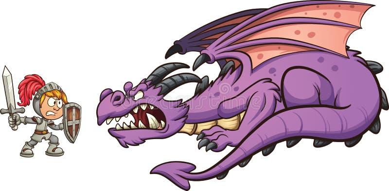 Dragão de combate do cavaleiro ilustração royalty free