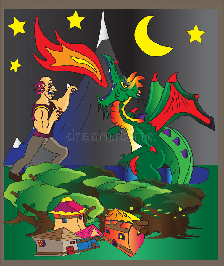 Dragão de combate gigante ilustração do vetor