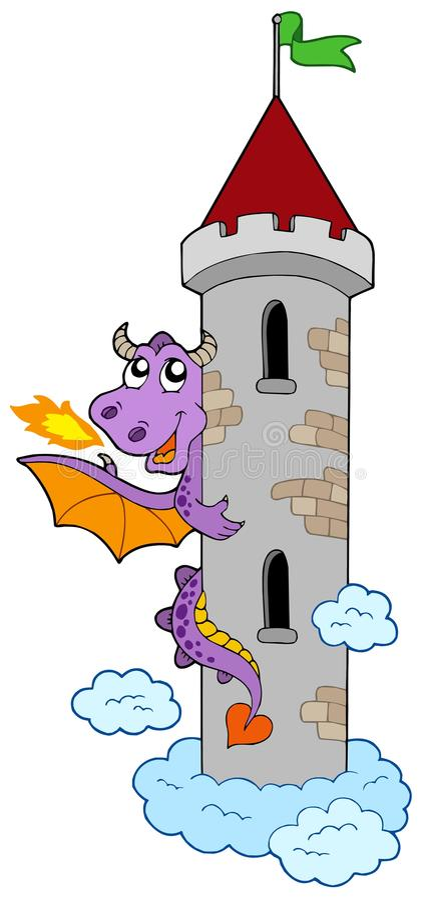 Dragão de espreitamento com torre do castelo ilustração stock