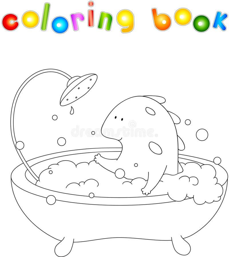 Dragão de sorriso bonito que toma o banho com espuma Ilustração f do vetor ilustração royalty free