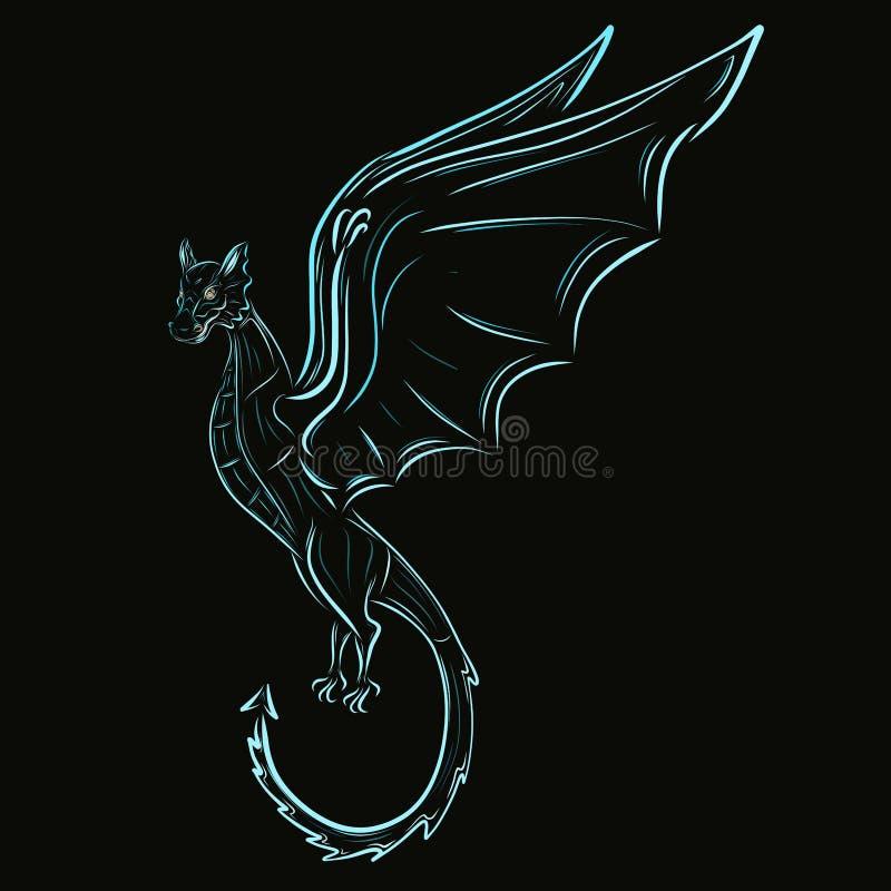 Dragão de voo bonito em um fundo preto ilustração royalty free