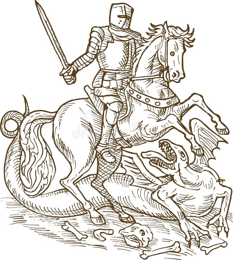 Dragão do cavaleiro de George de Saint ilustração royalty free