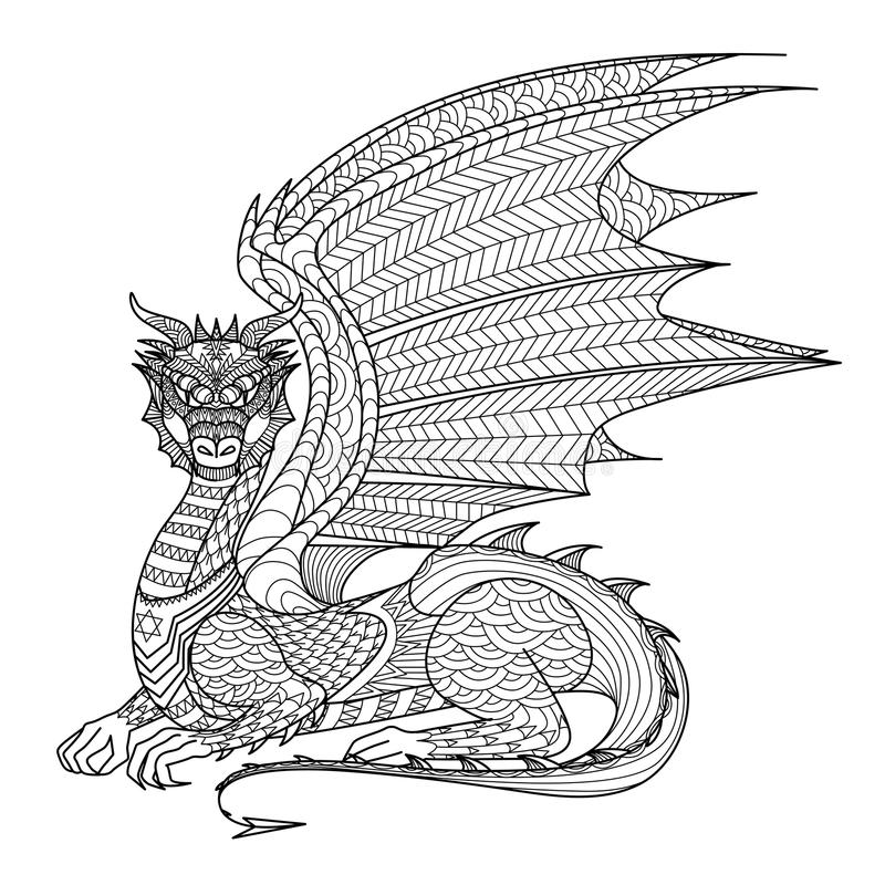 Dragão do desenho para o livro para colorir ilustração royalty free