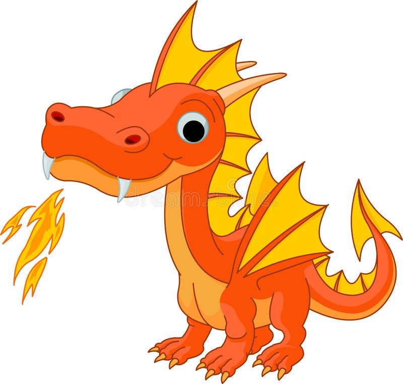 Dragão do incêndio dos desenhos animados ilustração royalty free