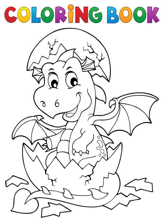 Dragão do livro para colorir que choca do ovo 1 ilustração royalty free