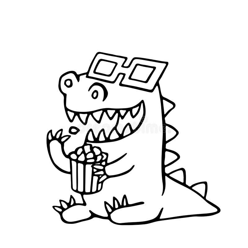 Dragão dos desenhos animados em vidros estereofônicos e em uma caixa da pipoca Ilustração do vetor ilustração royalty free