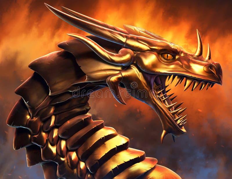 Dragão dourado épico ilustração stock