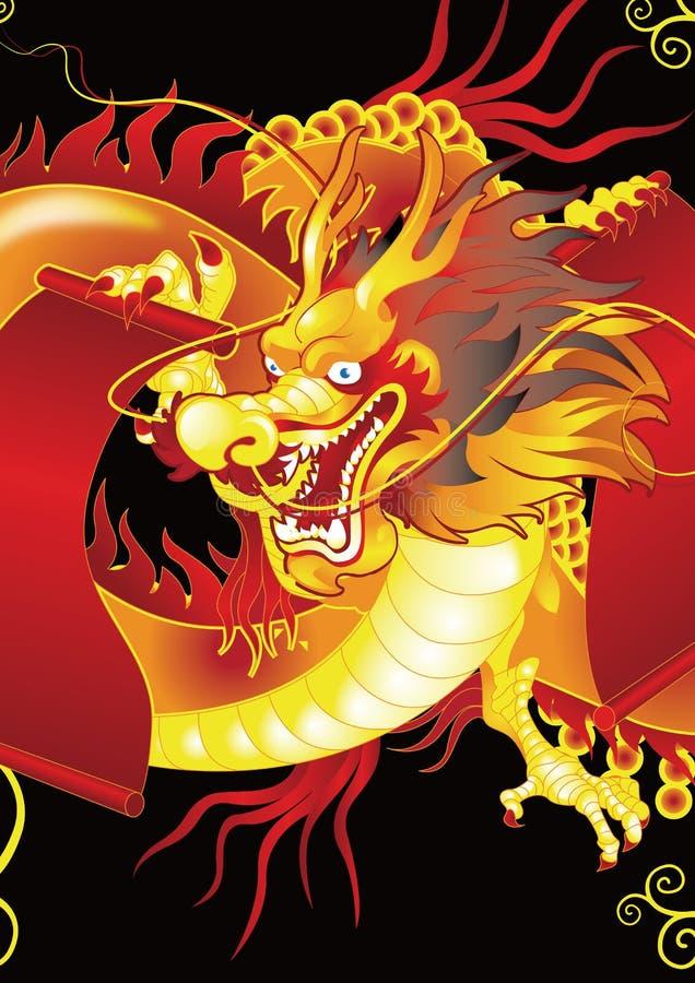 Dragão dourado chinês ilustração royalty free