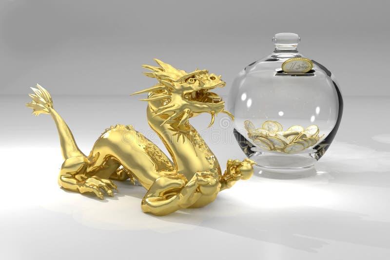 Dragão dourado e euro- caixa de dinheiro ilustração do vetor