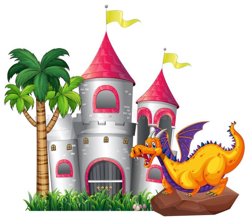 Dragão e castelo ilustração royalty free