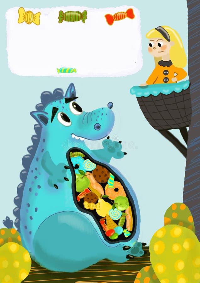 Dragão e ilustração da princesa ilustração stock