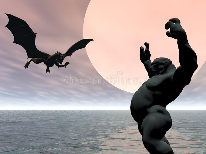 Dragão e pesca à corrica ilustração do vetor