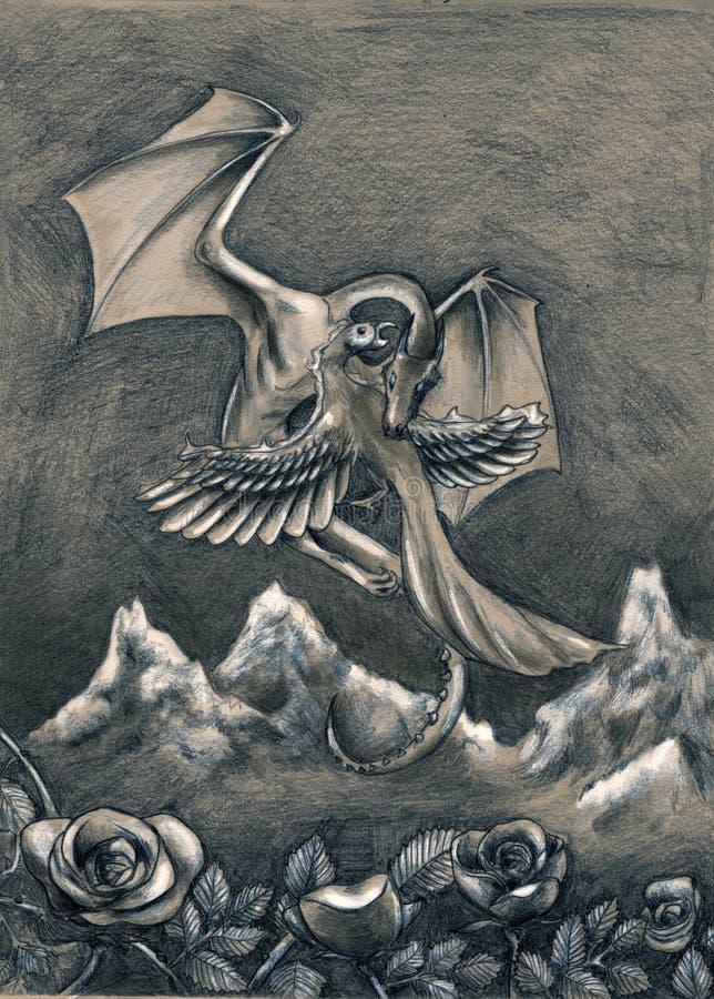 Dragão e phoenix ilustração stock