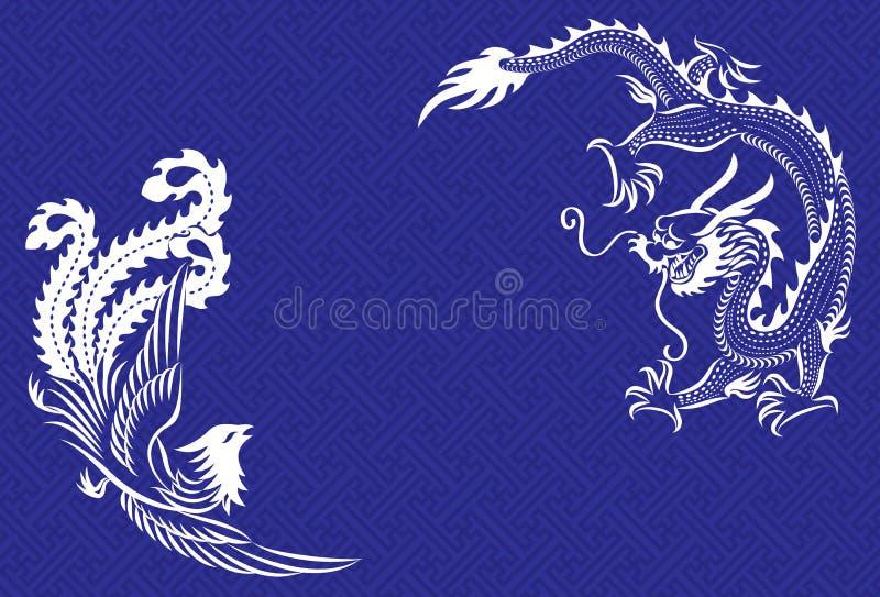 Dragão e Phoenix chineses ilustração do vetor