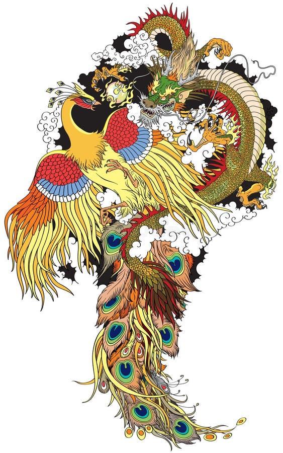 Dragão e Phoenix chineses ilustração stock