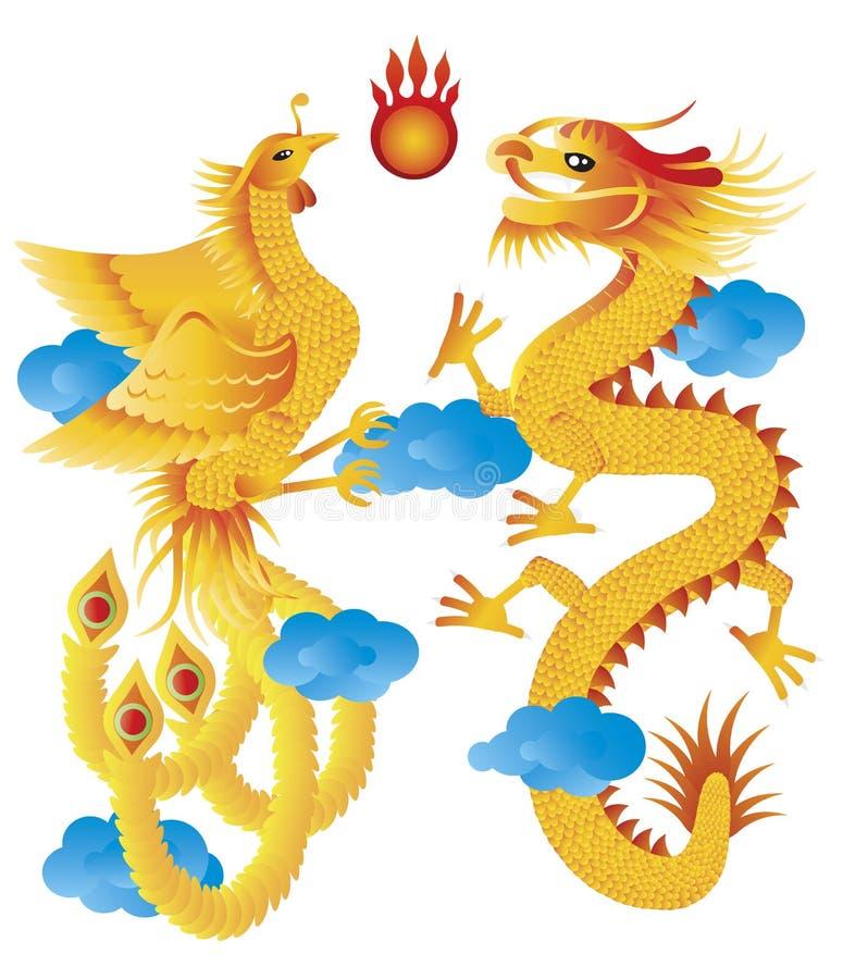 Dragão e Phoenix com ilustração das nuvens ilustração royalty free