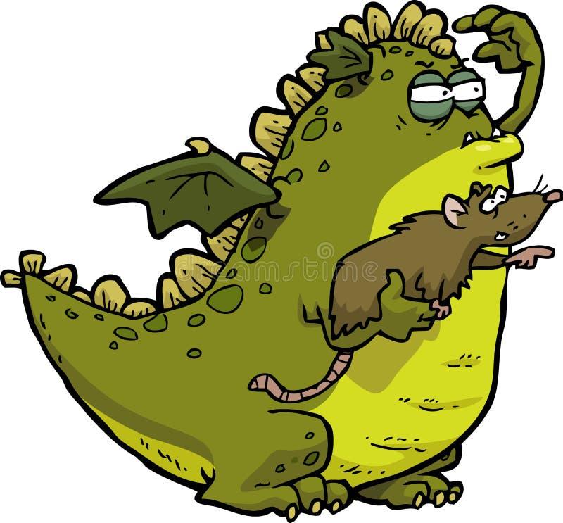 Dragão e rato ilustração stock