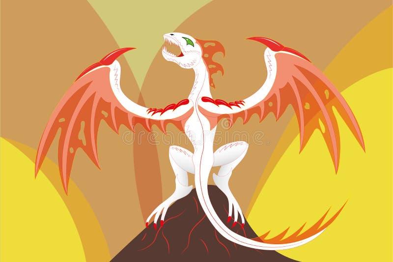 Dragão em um vulcão ilustração royalty free