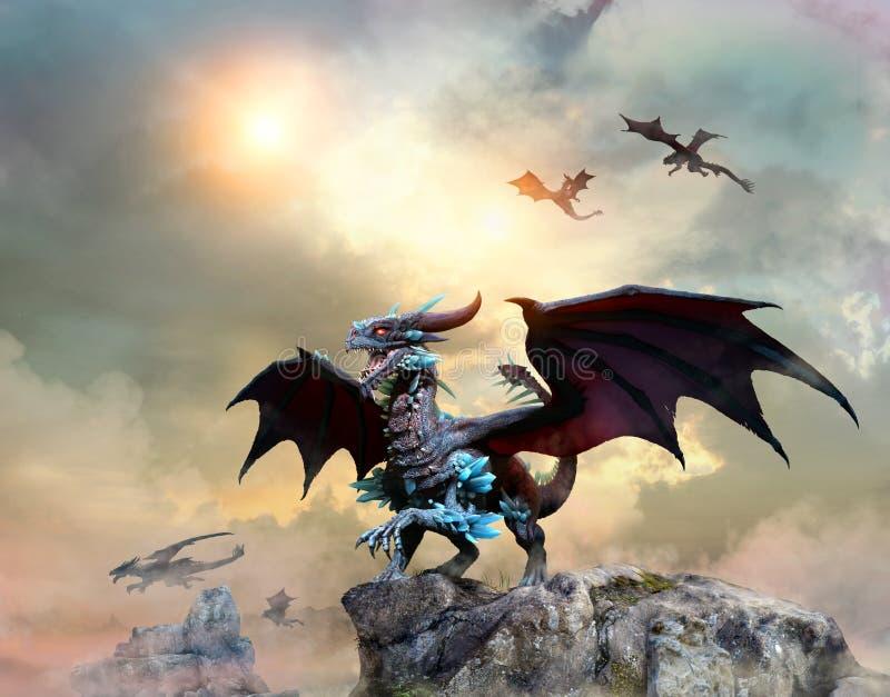 Dragão em uma ilustração da cena 3D do penhasco ilustração stock