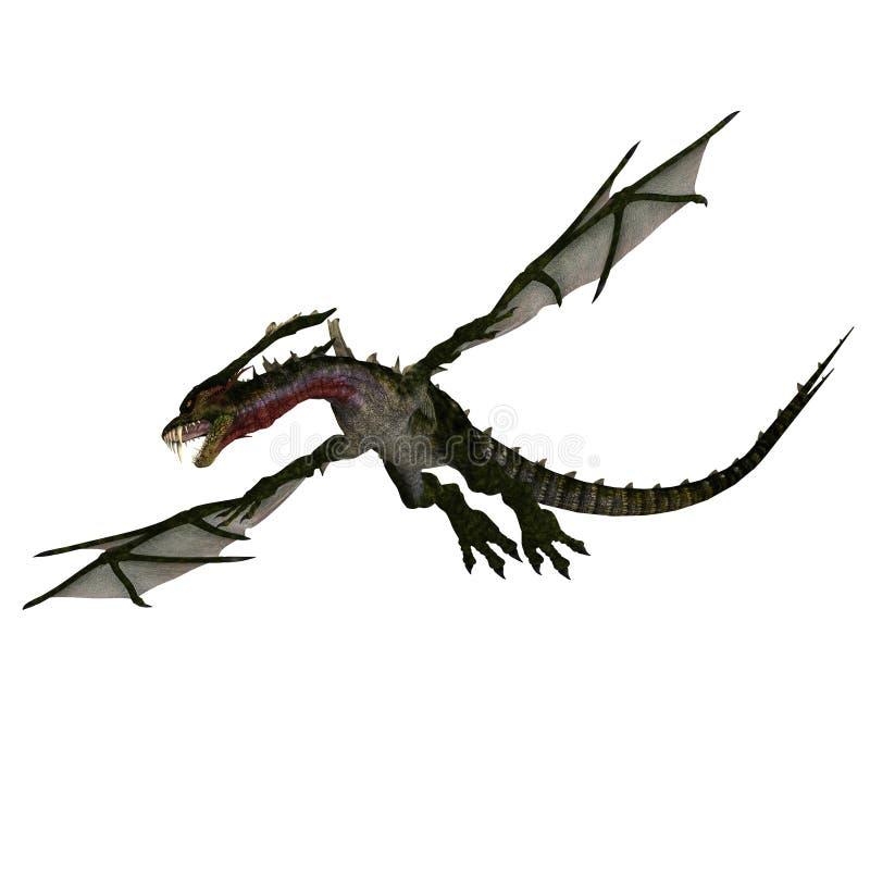 Dragão estarrecente gigante com asas e chifres ilustração do vetor
