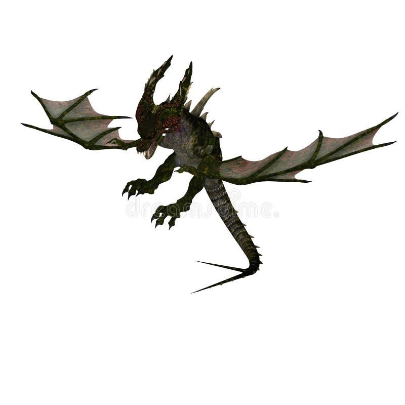 Dragão estarrecente gigante com asas e chifres ilustração royalty free