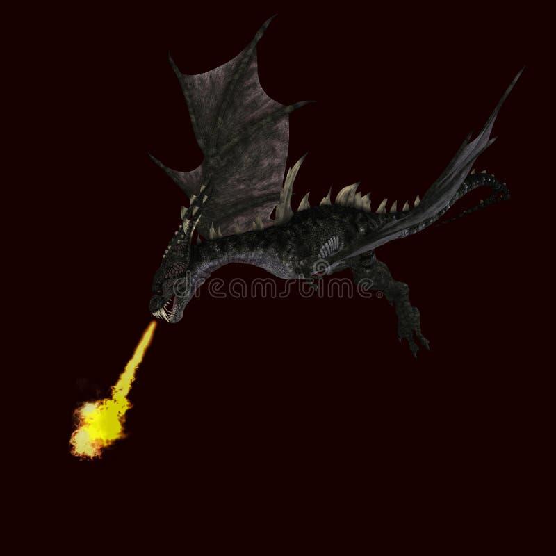 Dragão estarrecente gigante com asas e chifres ilustração stock