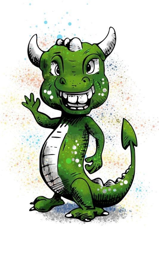 Dragão feliz engraçado - acenando em você fotos de stock