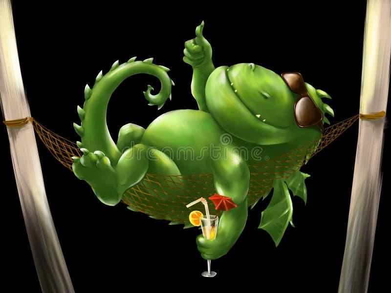 Dragão gordo em uma rede ilustração do vetor