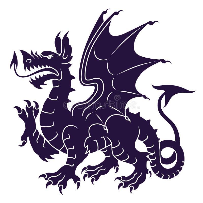 Dragão heráldico ilustração do vetor