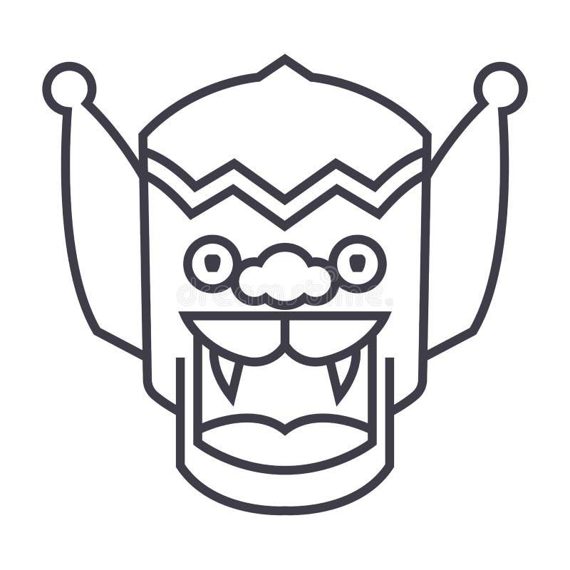Dragão, linha ícone do vetor da porcelana, sinal, ilustração no fundo, cursos editáveis ilustração stock