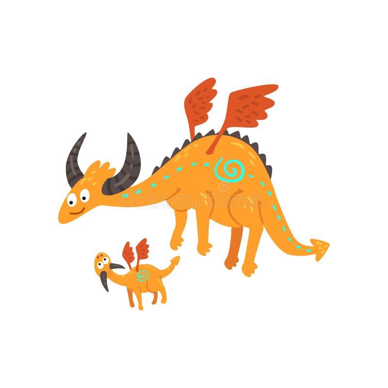 Dragão maduro horned bonito com asas e dragão pequeno do bebê, mãe e sua criança, família de desenhos animados míticos dos animai ilustração stock