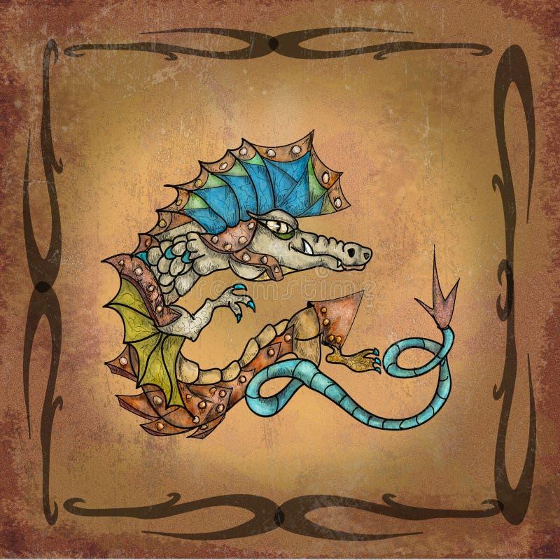 Dragão no manuscrito ilustração royalty free