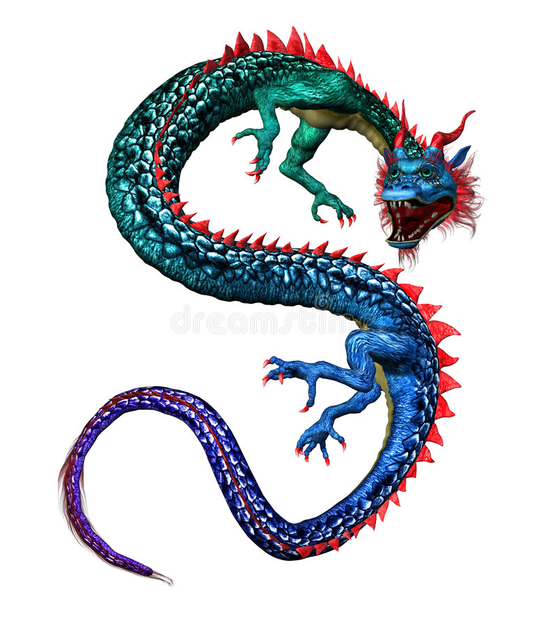 Dragão oriental colorido - inclui o trajeto de grampeamento ilustração royalty free