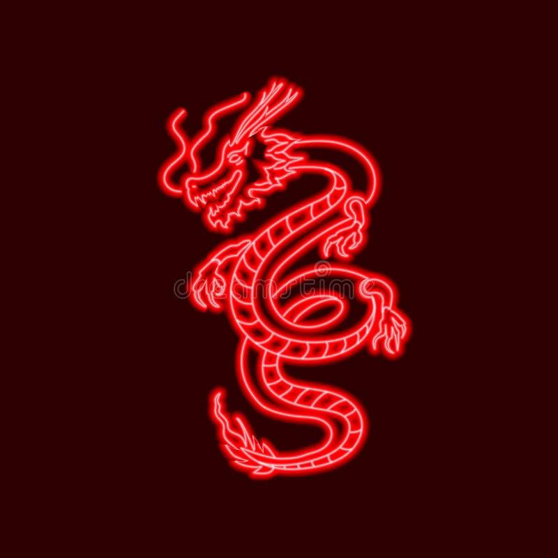 Dragão oriental de néon do vetor, linhas de incandescência vermelhas, molde do sinal ilustração do vetor