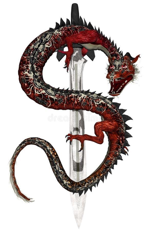 Dragão oriental - vermelho ilustração royalty free