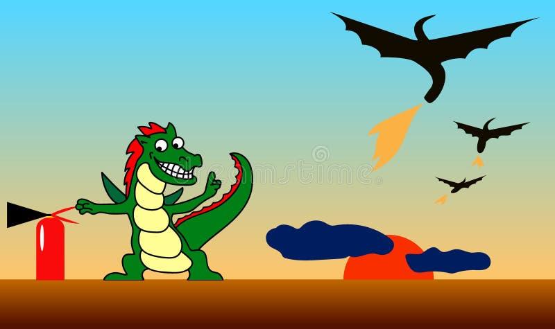 Dragão pequeno contra dragões grandes ilustração stock
