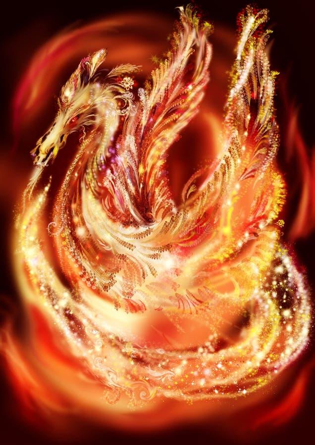 Dragão-Phoenix, ilustração stock