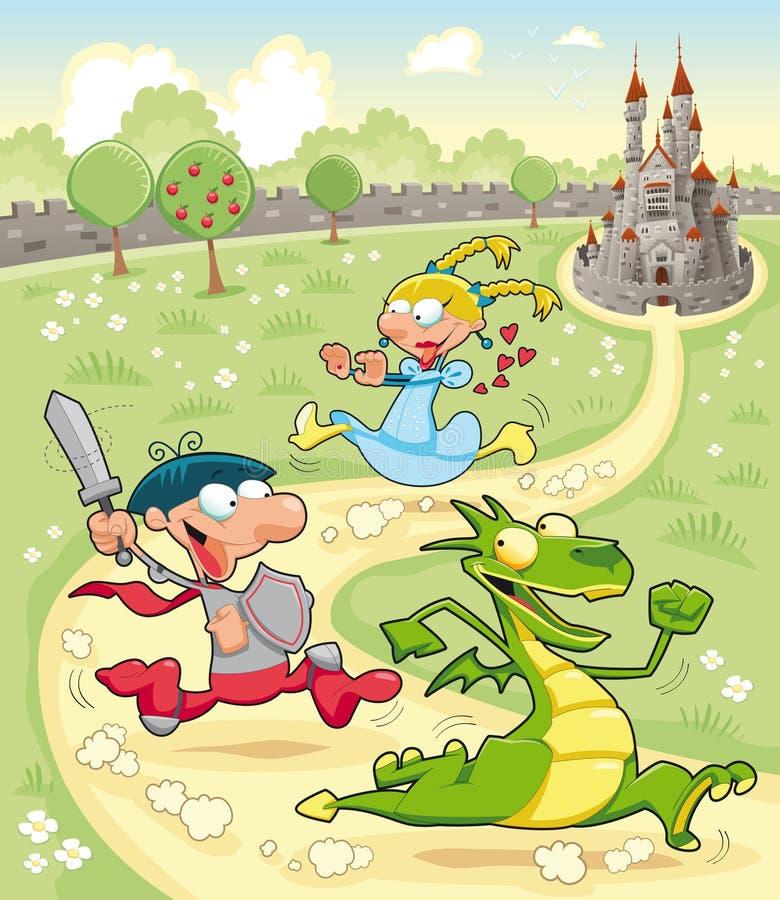 Dragão, príncipe e princesa com fundo ilustração do vetor