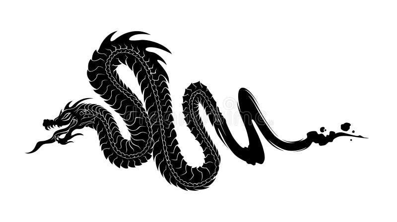 Dragão preto da tinta ilustração do vetor
