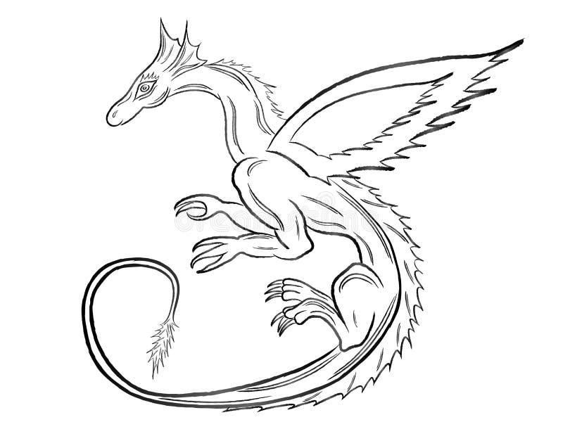 Dragão preto sobre o branco ilustração stock