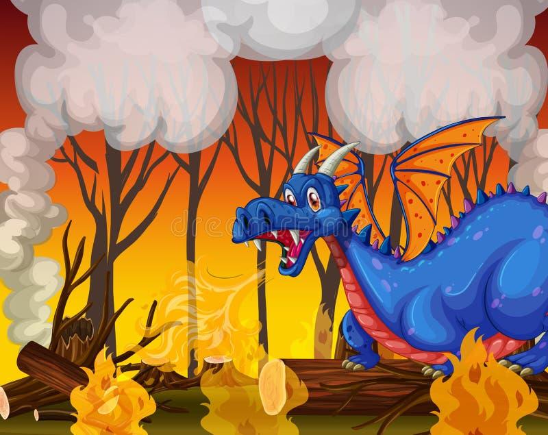 Dragão que enterra a floresta ilustração do vetor