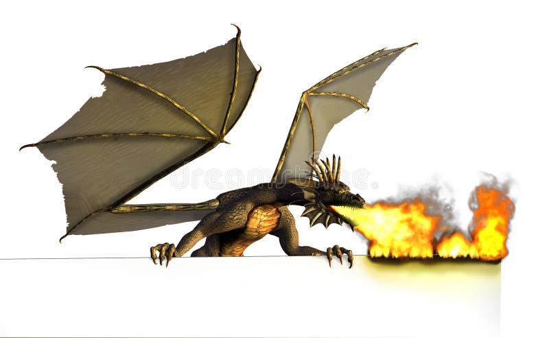 Dragão que queima o sinal em branco - no branco ilustração royalty free
