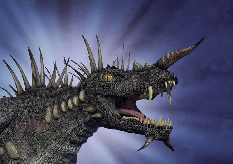 Dragão Spiky com fundo ilustração royalty free