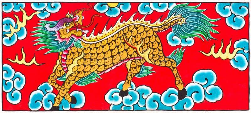 Dragão tailandês tradicional do cavalo da arte da pintura do estilo foto de stock royalty free