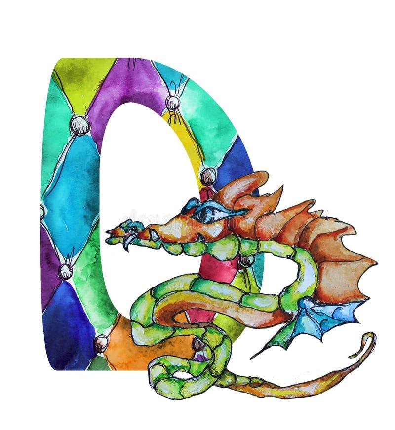 Dragão tirado mão da aquarela da fonte D ilustração royalty free
